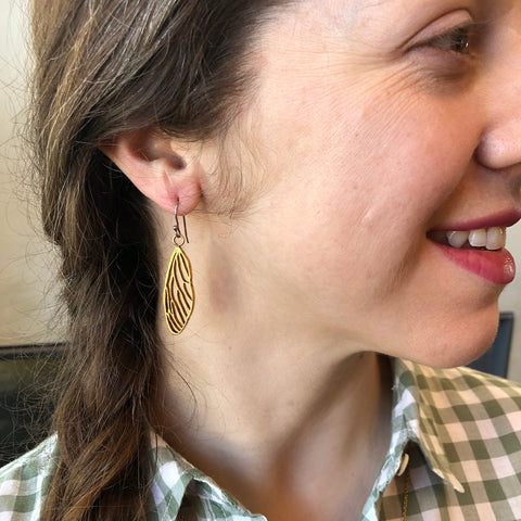 Cicada Bug Wing Earrings