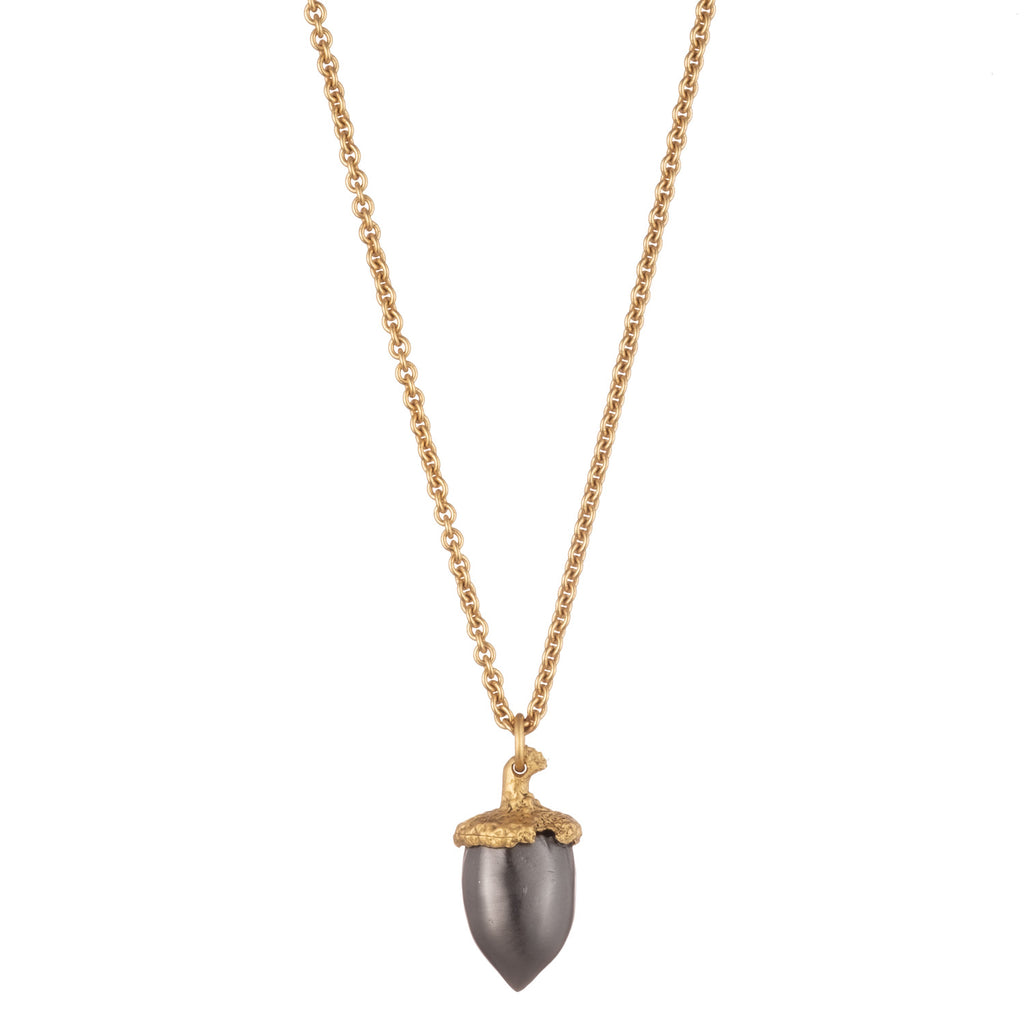 brass gold gunmetal acorn necklace