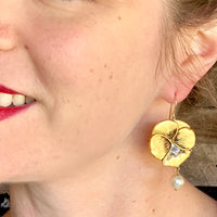 "Pansy Drop Earrings with ""pearl"""