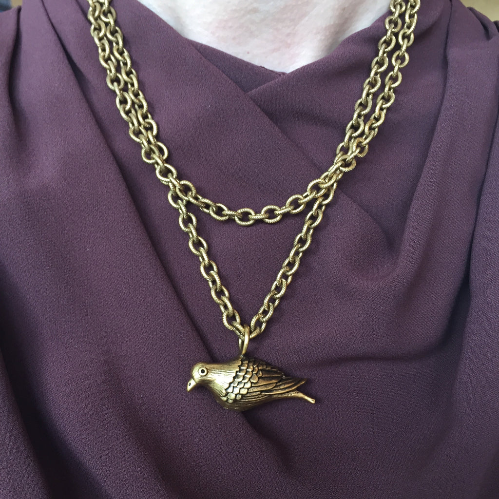 Peace Dove Large Gold Necklace