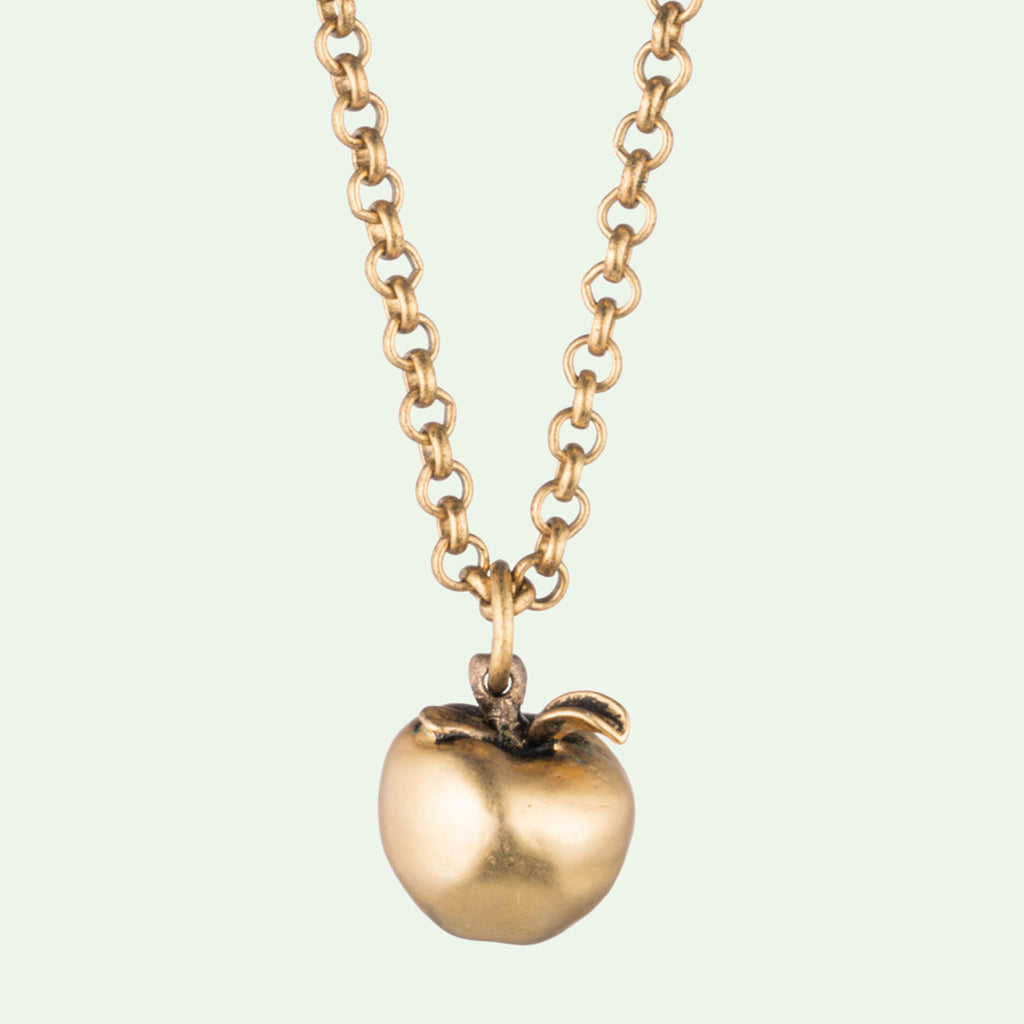 Gold Apple Pendant Necklace with Antique Matte Finish