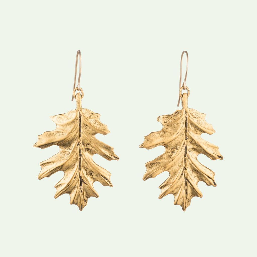 Oak Leaf earrings in gold plated brass