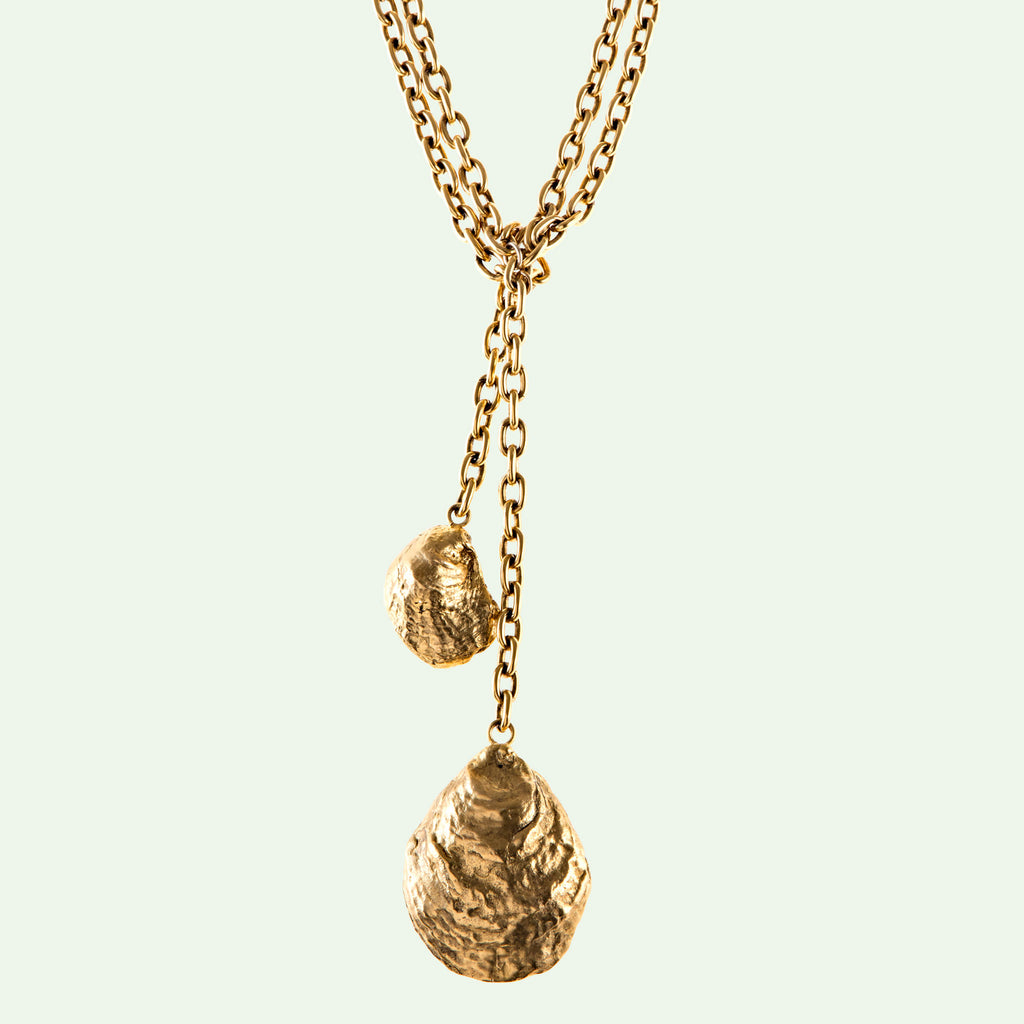 Fishers Island Oyster Necklace in brass and gold