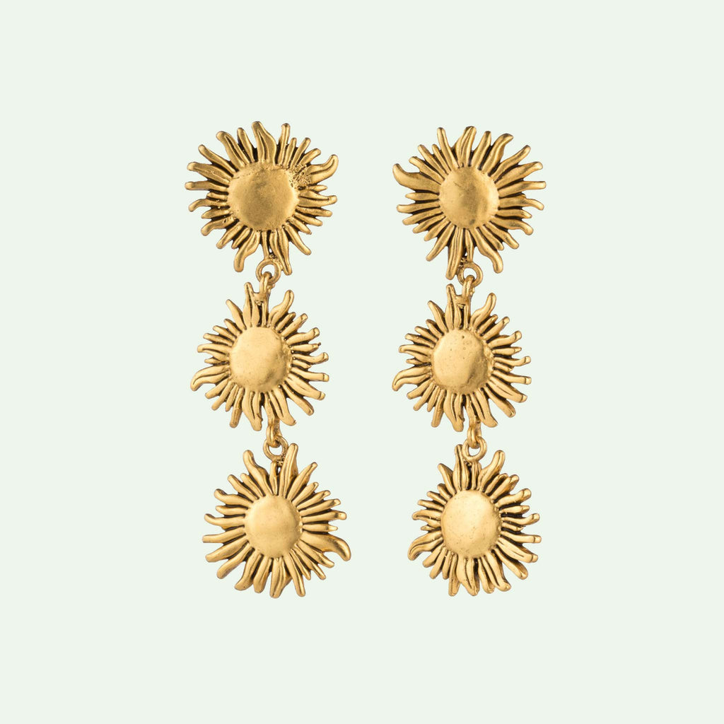 Triple sunflower earring in brass and gold