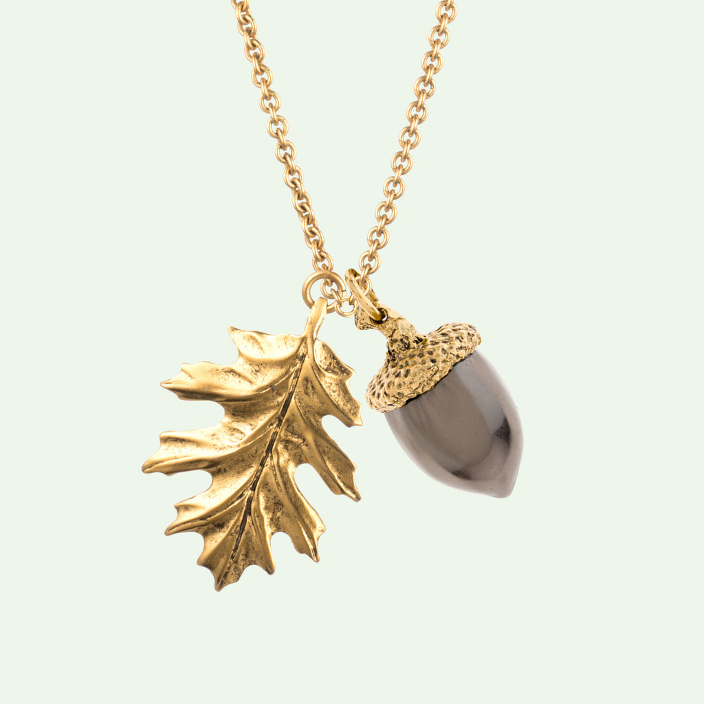 Autumn Joy Necklace acorn oak leaf