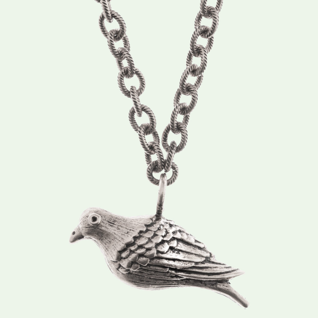 Peace Dove Large Silver Necklace