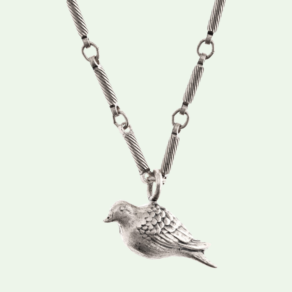 Peace Dove Medium Silver Necklace