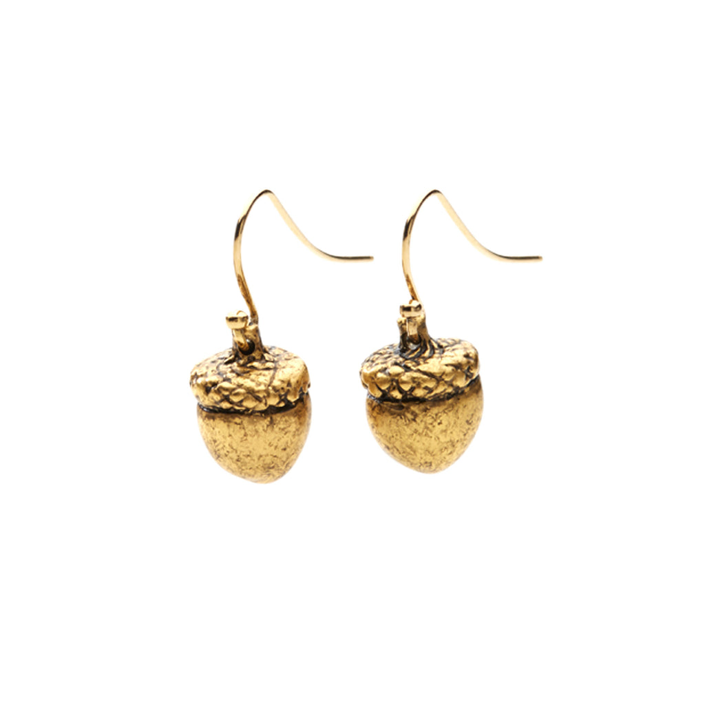 brass plated in gold acorn earrings