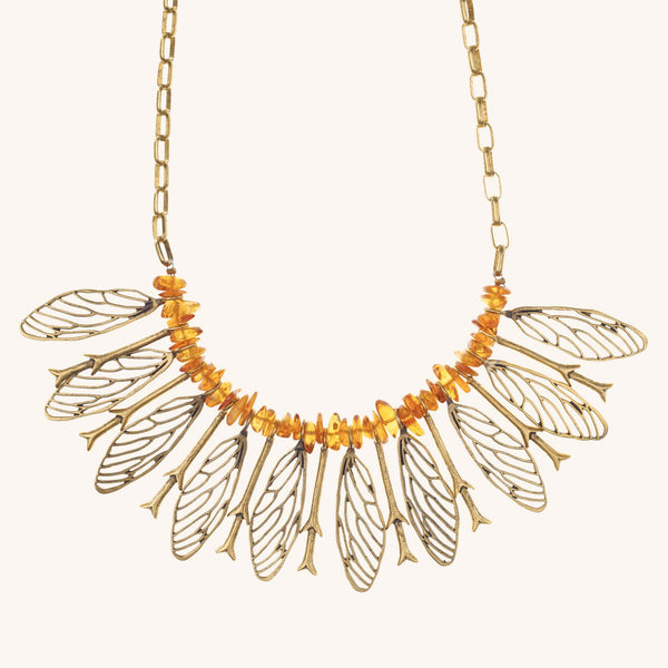 Cicada Wing Bibb Necklace with Amber