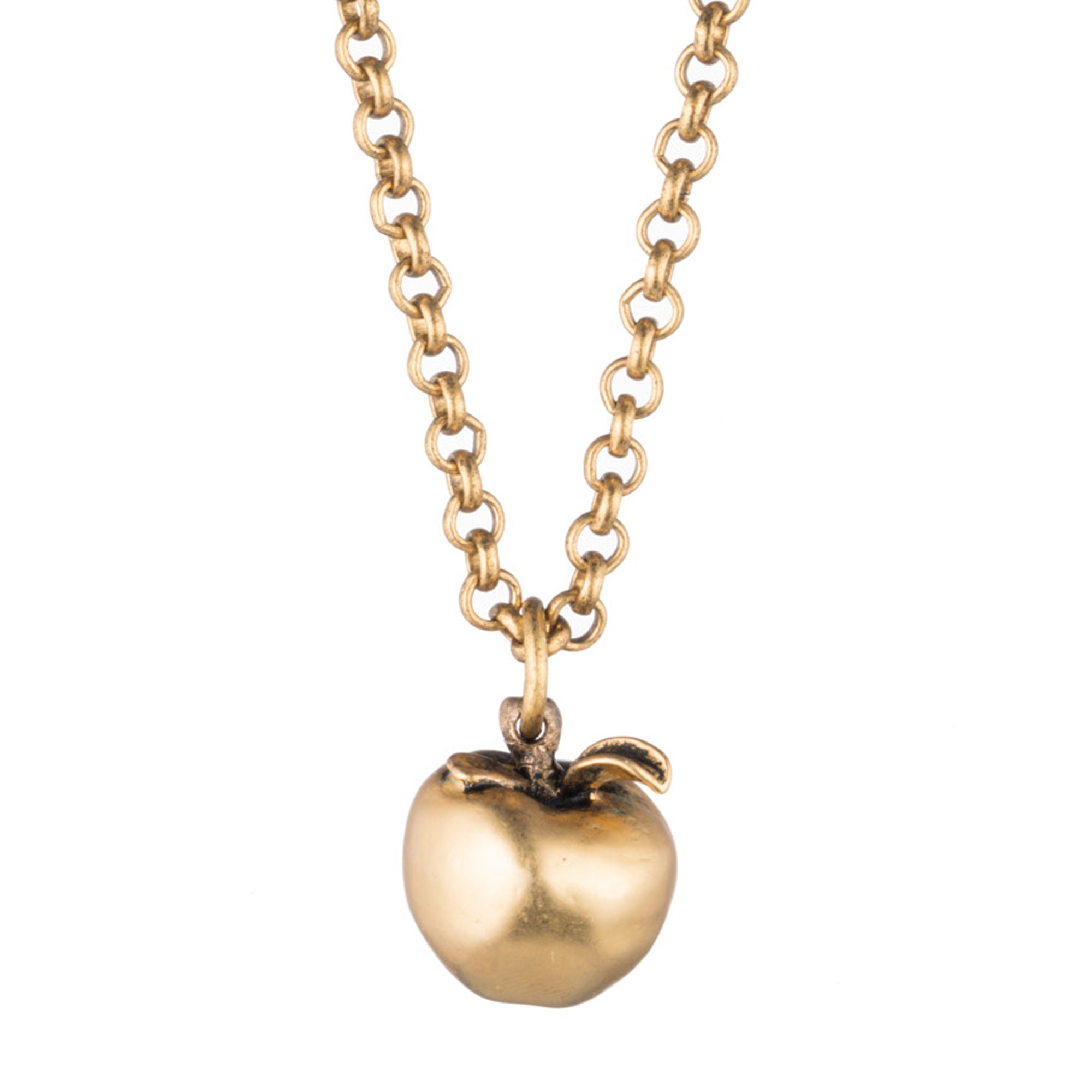 The big apple necklace gold apple pendant necklace orchard gold apple pendant necklace with antique matte finish aloadofball Images