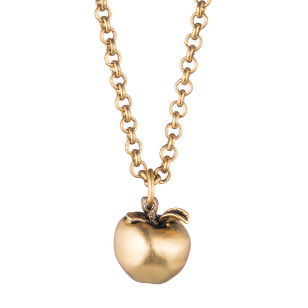 Gold Apple Necklace with Antique Finish