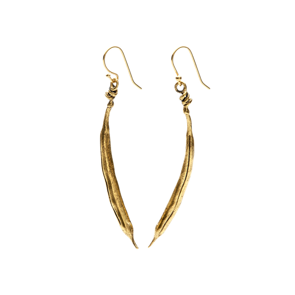 gold plated bean earrings