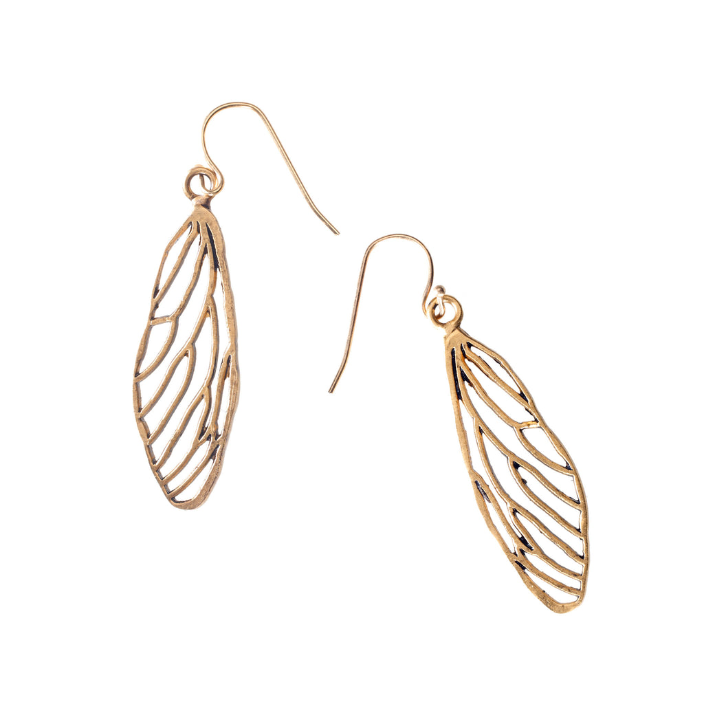 Wing earrings cicada
