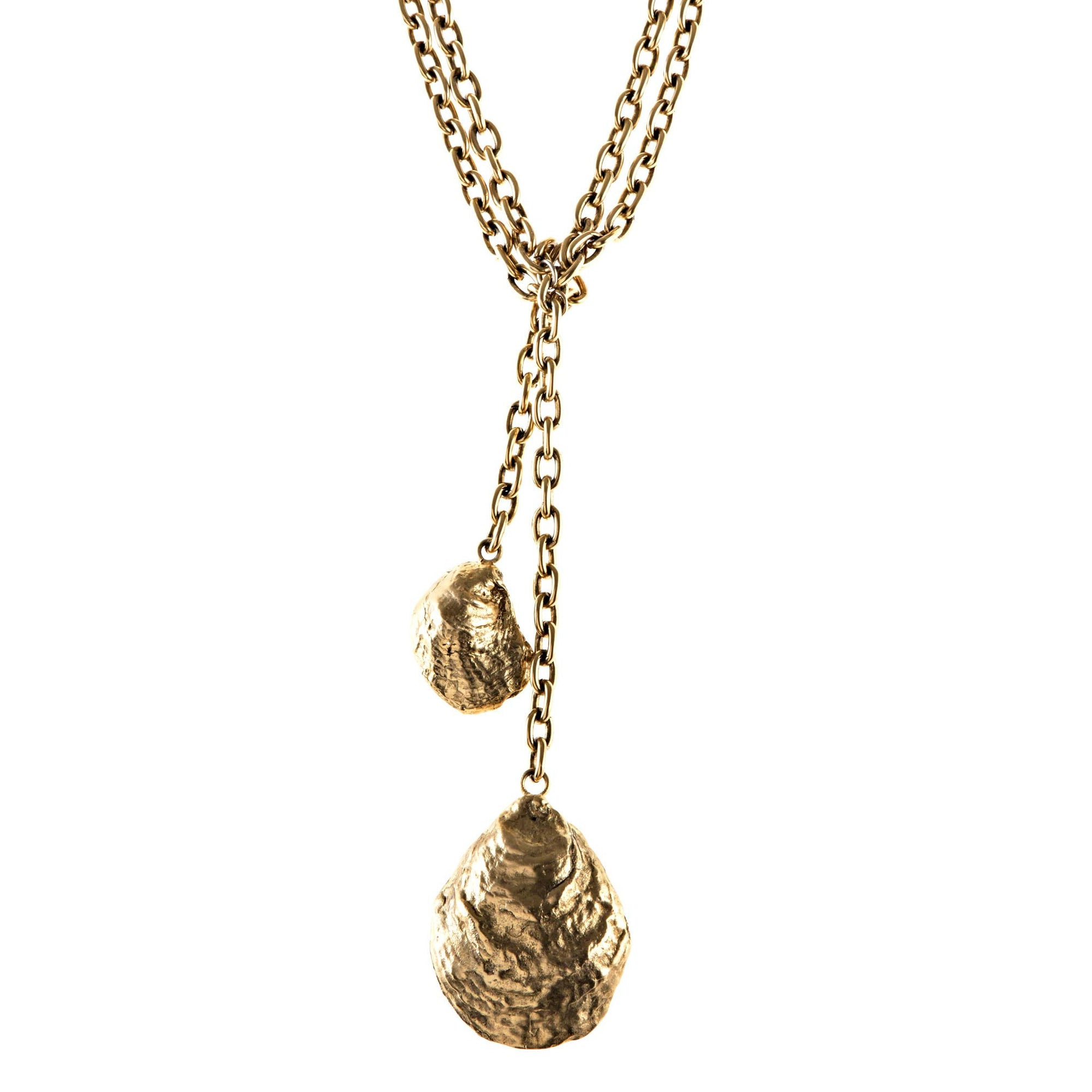 Double Oyster Shell Necklace in Gold