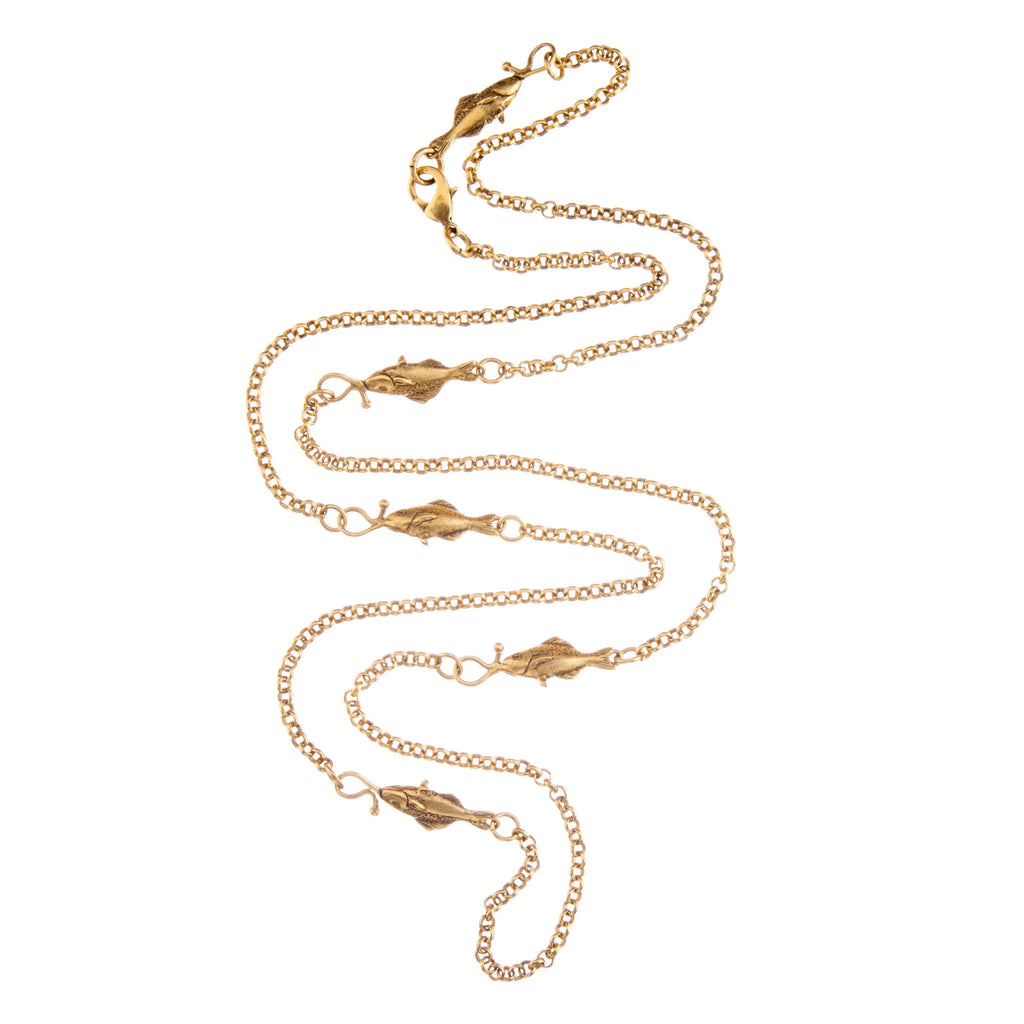 Gold plated brass fish necklace