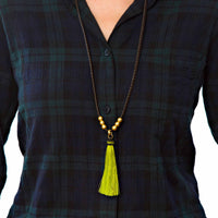 Horse Tassel Lime Necklace