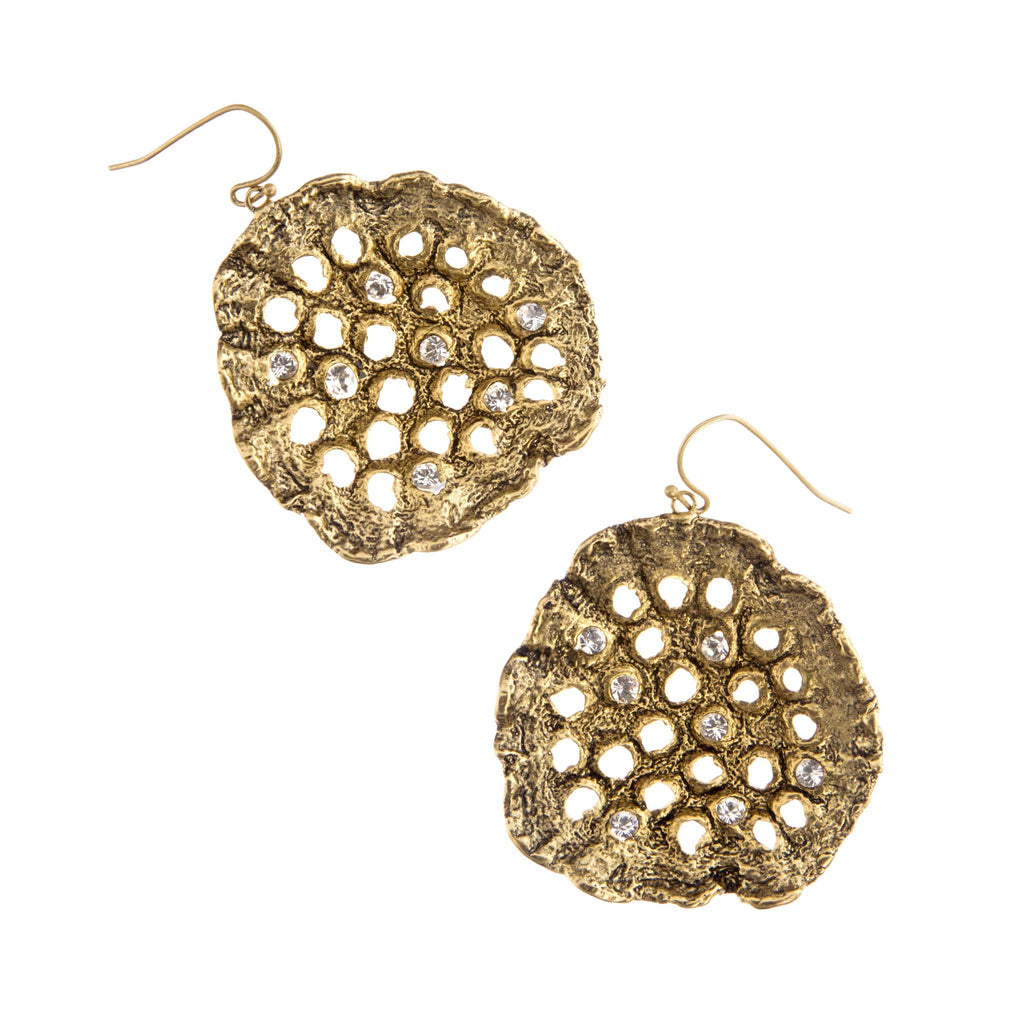 Lotus Pod Earrings Brass and gold plated
