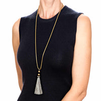 Horse Tassel Grey with Snake Chain Necklace