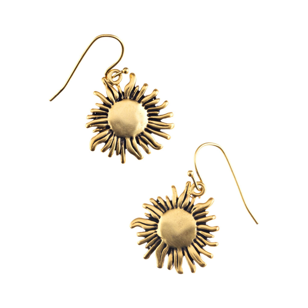sunflower earrings brass gold