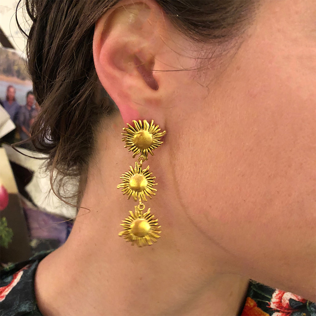 Handmade sunflower triple earrings