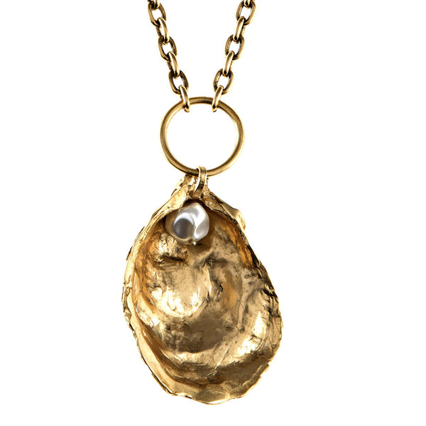 Oyster Pendant Necklace with Resin Pearl Inside