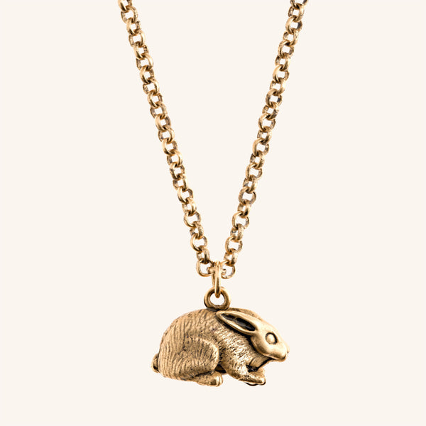 Rabbit Necklace Pendant in Gold