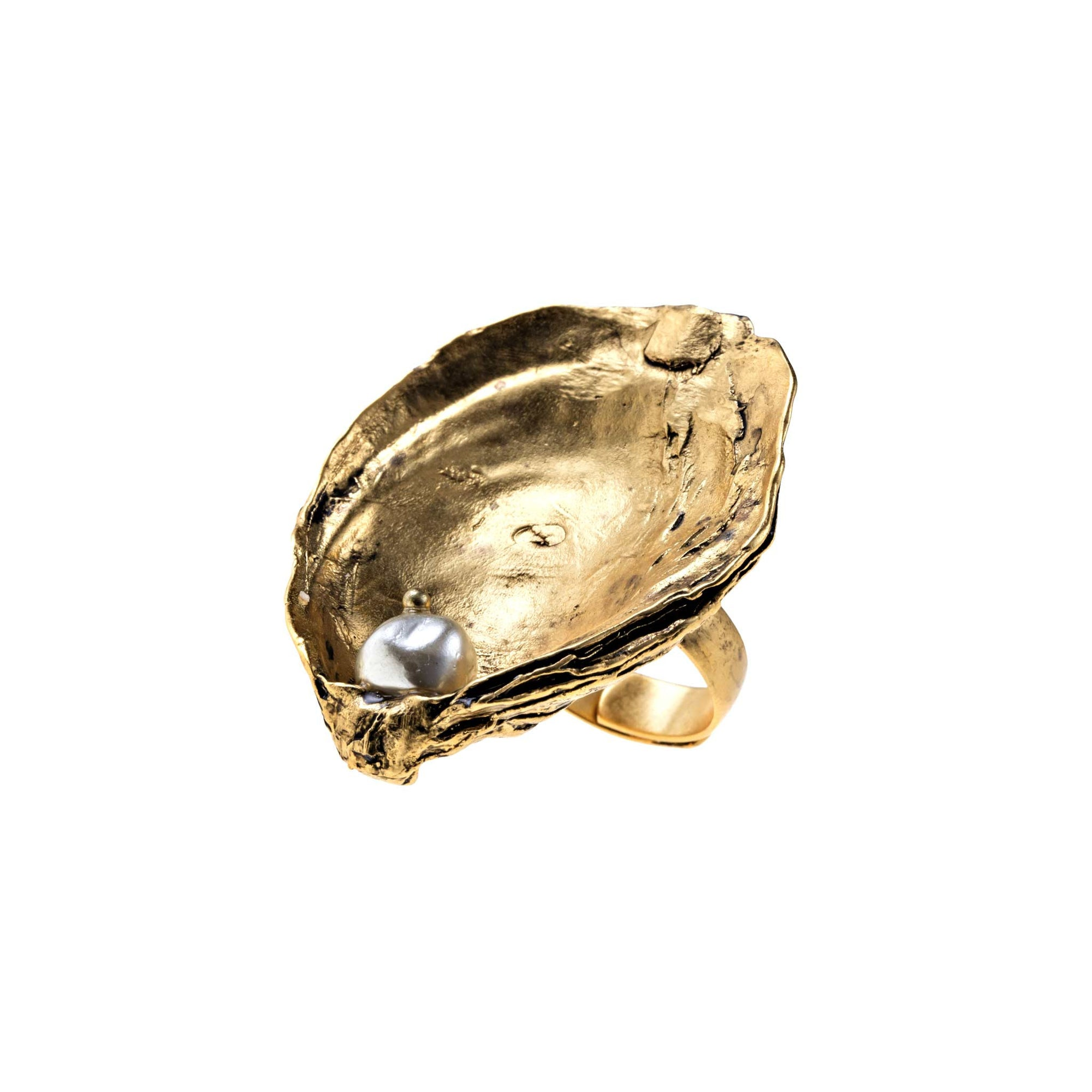 Oyster Shell Ring in Gold with Resin Pearl