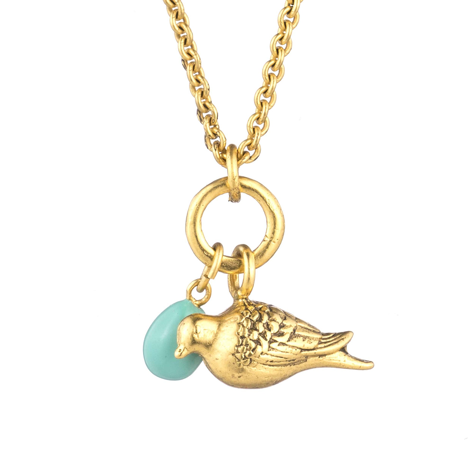 Peace Dove & Egg Pendant Necklace