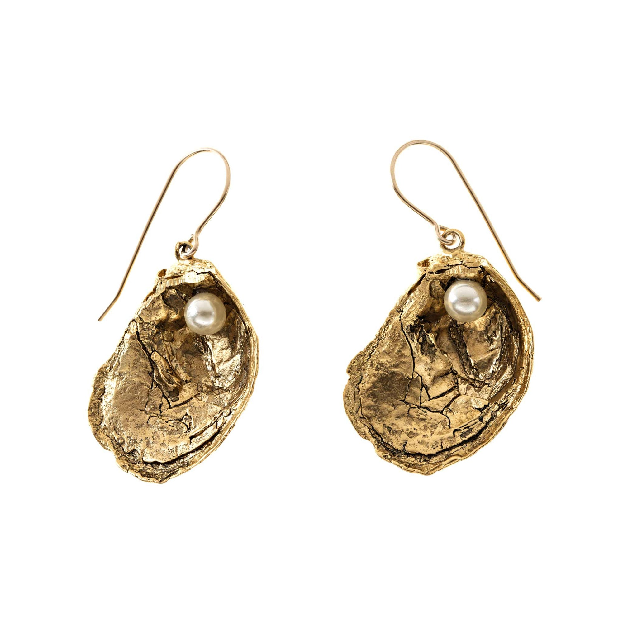 Oyster Shell Earrings in Antique Gold