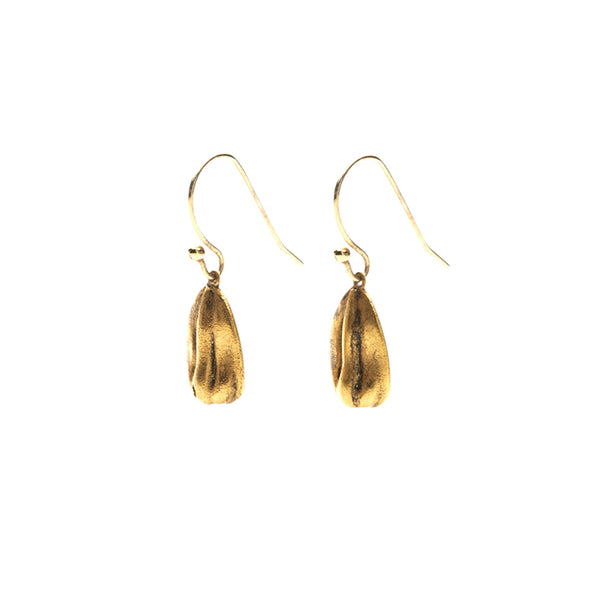 Sunflower Seed Earrings in Gold