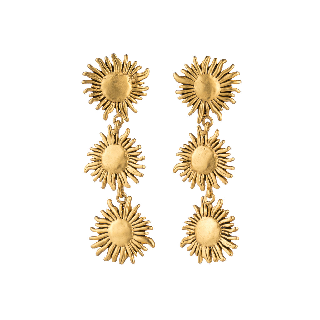 triple sunflower earring