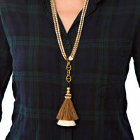 Horse Tassel Brown/White with Double Cord Necklace