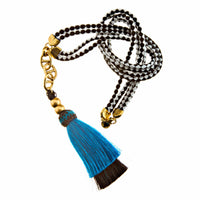 Horse Tassel Blue/Black with Double Cord Necklace