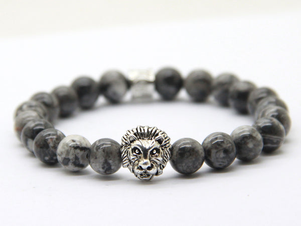 Grey Vein Stone Silver Lion of Judah Bracelet