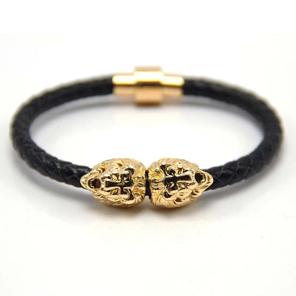 Black Gold Leather Lion of Judah Bracelet