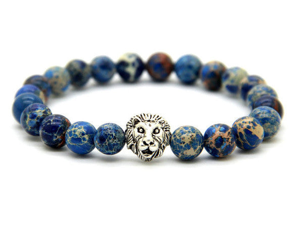 Blue Sea Stone Silver Lion of Judah Bracelet