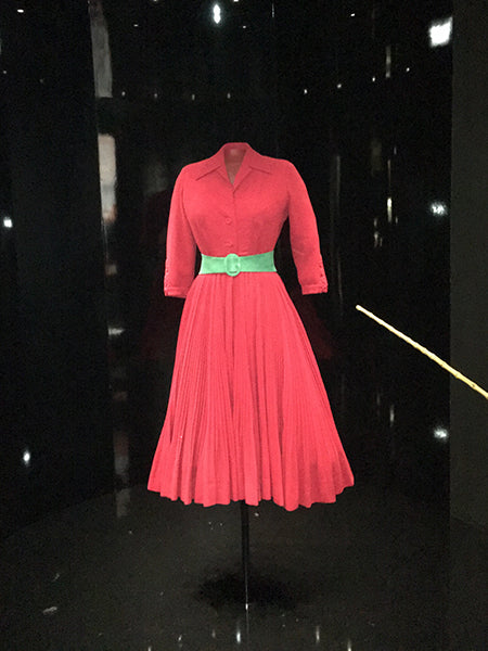 Dior red wool dress.
