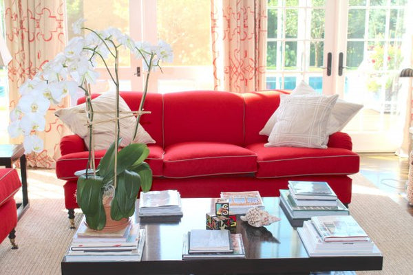 Chili Red Upholstered Couches in the Living Room