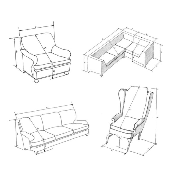 Instructions for Measuring Furniture to Determine the Size of Furniture Sun & Dust Covers