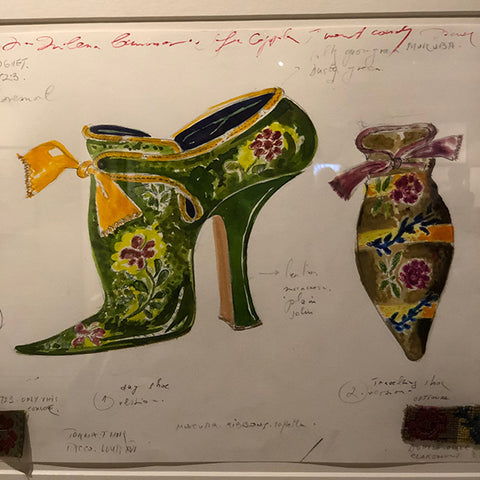 Painting of 18th century shoes by Manolo Blahnik, developed for the movie Marie Antoinette