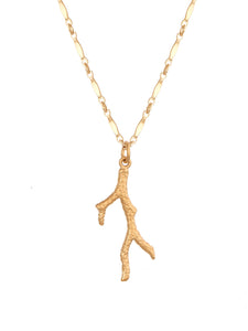 Coral Branch charm necklace