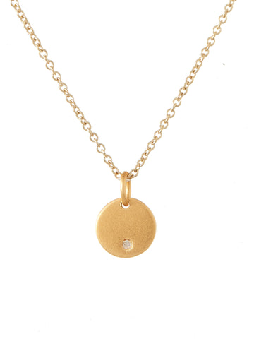 Round Diamond Charm Necklace