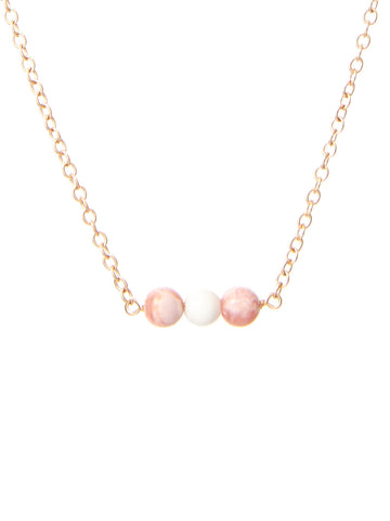 Taylor pink beaded necklace