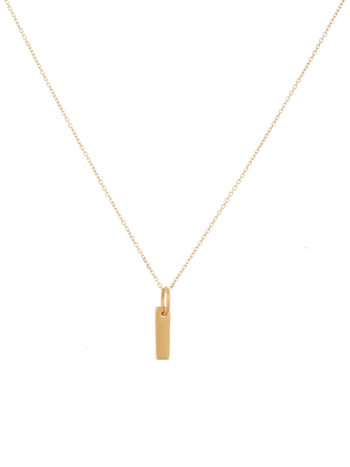 Rectangular bar charm necklace
