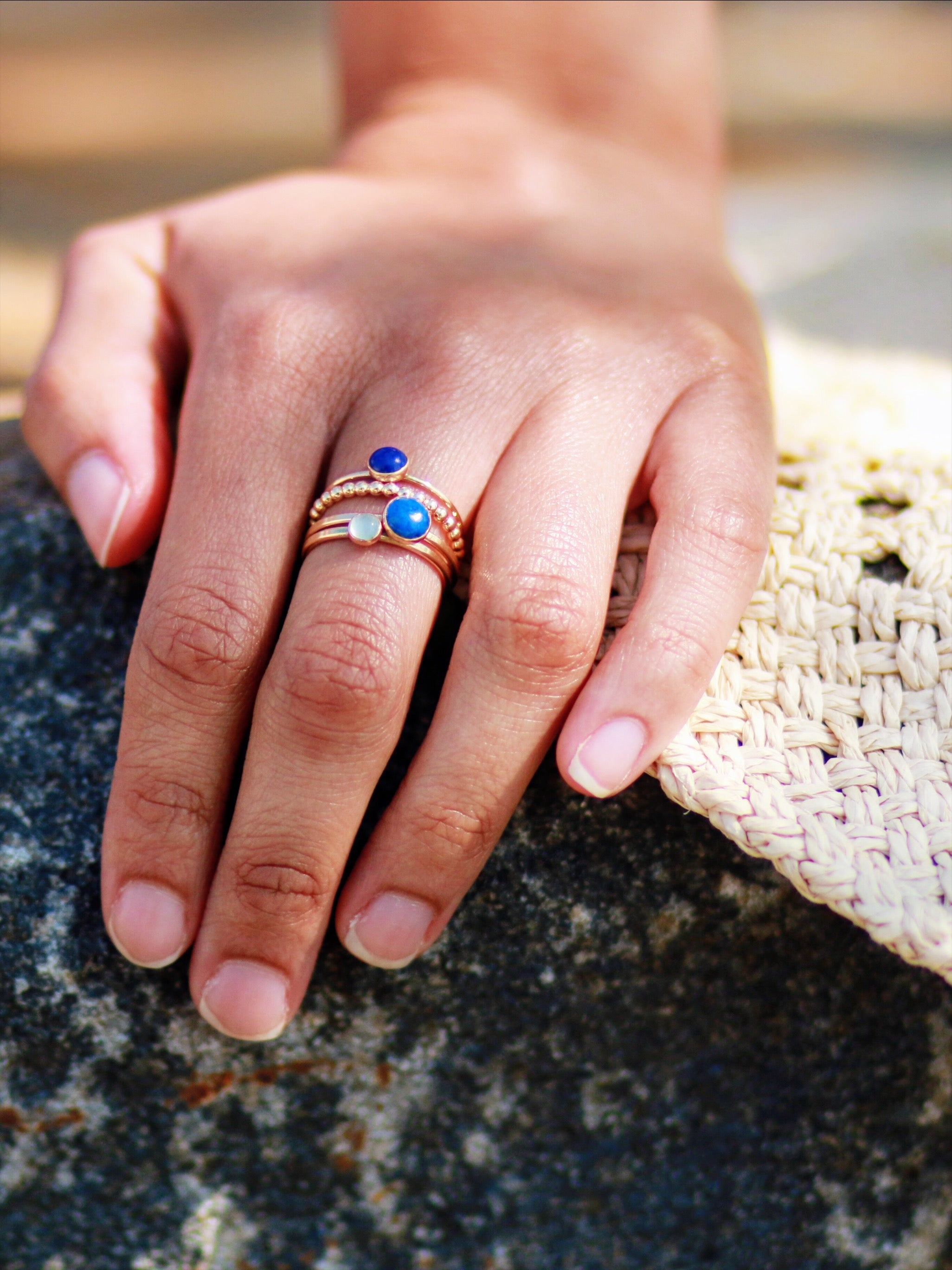 Sloane lapis stacking ring