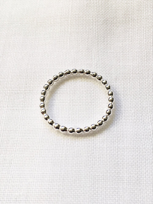Beaded silver stacking ring