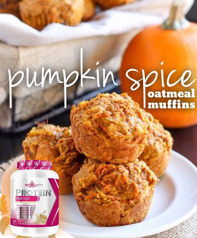 Pumpkin spiced oatmeal muffins made with foxy fit protein