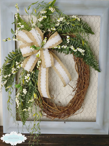 Rustic Farmhouse Grapevine Everyday Wreath With Burlap Bow