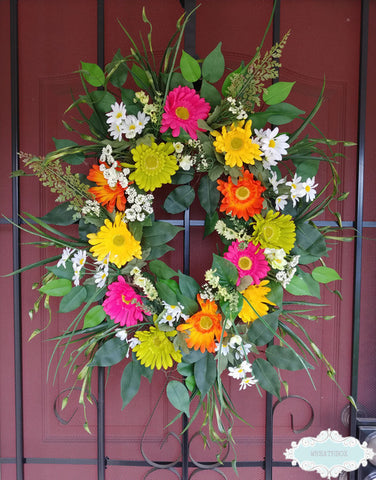 Mother's Day Floral Wreath Pink Yellow Green Orange White Gerber Daisy Wreath