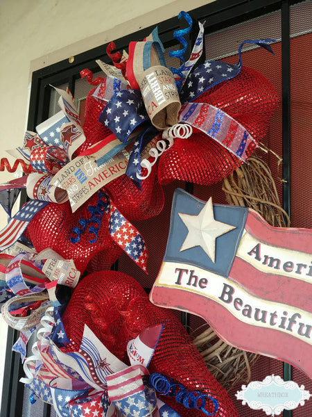 Rustic Patriotic Grapevine Wreath Americana 4th of July Front Door Wreath Red White Blue USA